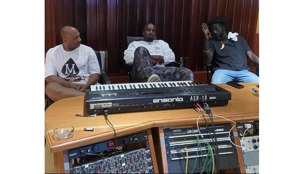"American rapper Kanye West (centre) with reggae icon Buju Banton (right) and Roc-A-Fella Records co-founder Kareem ""Biggs"" Burke at Banton's Gargamel studio in Jamaica."