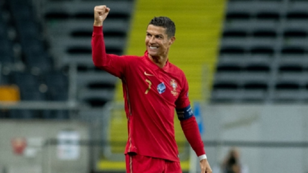 Cristiano Ronaldo celebrates in Stockholm.