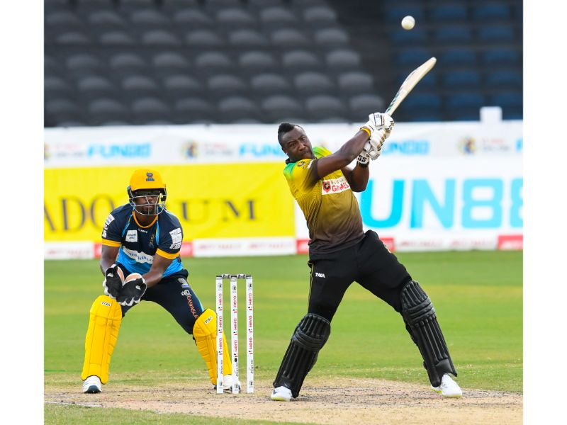 Jamaica Tallawahs batsman Andre Russell hits a six during their loss to the Barbados Tridents in Match 28 of the 2020 Hero Caribbean Premier League on 5th September 2020 at the Brian Lara Cricket Academy. (Photo by Randy Brooks - CPLT20/Getty Images)