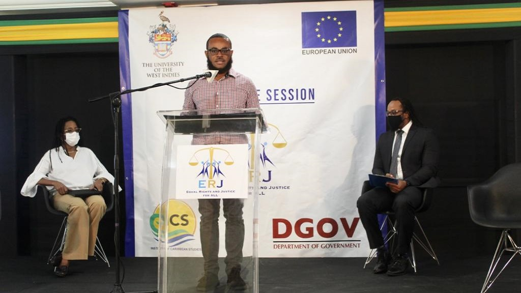 Dr Gavin Daley, Lecturer in the Department of Government at the University of the West Indies, addressing the ceremony.