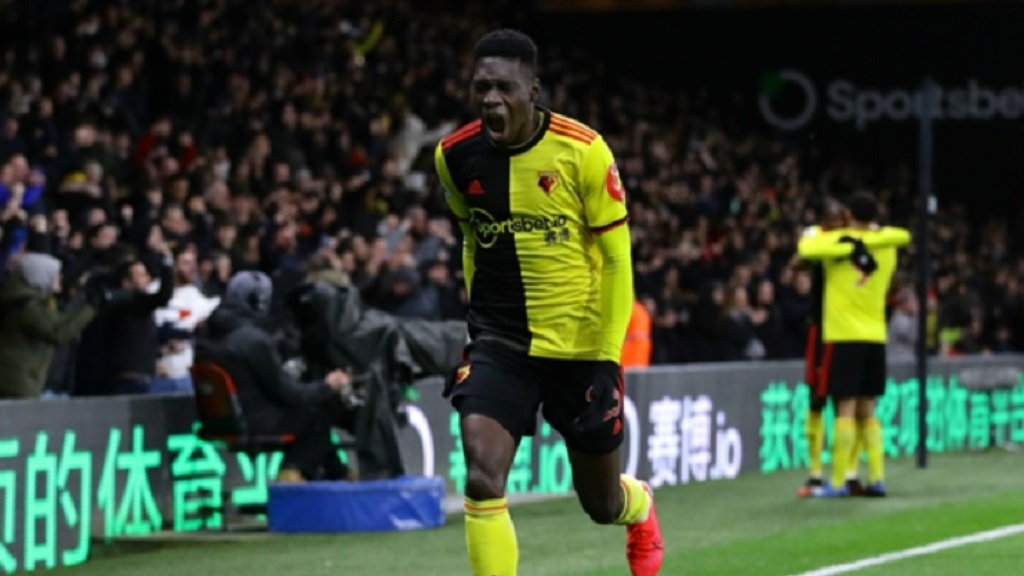 Ismaila Sarr celebrates scoring for Watford.