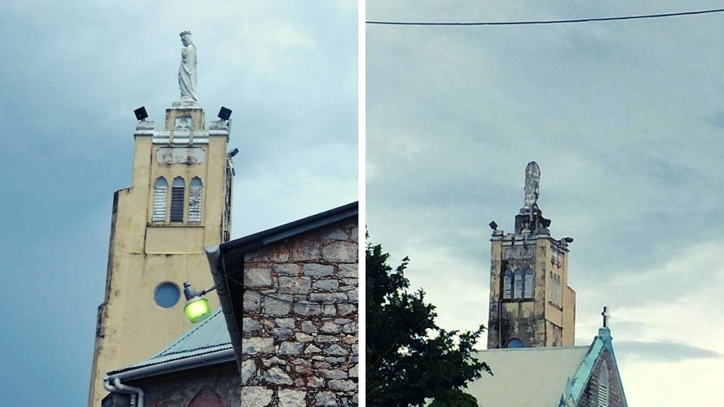 Photo L-R: Photos of the statue before and after the lightning strike. Photos courtesy the Catholic Church/Facebook.