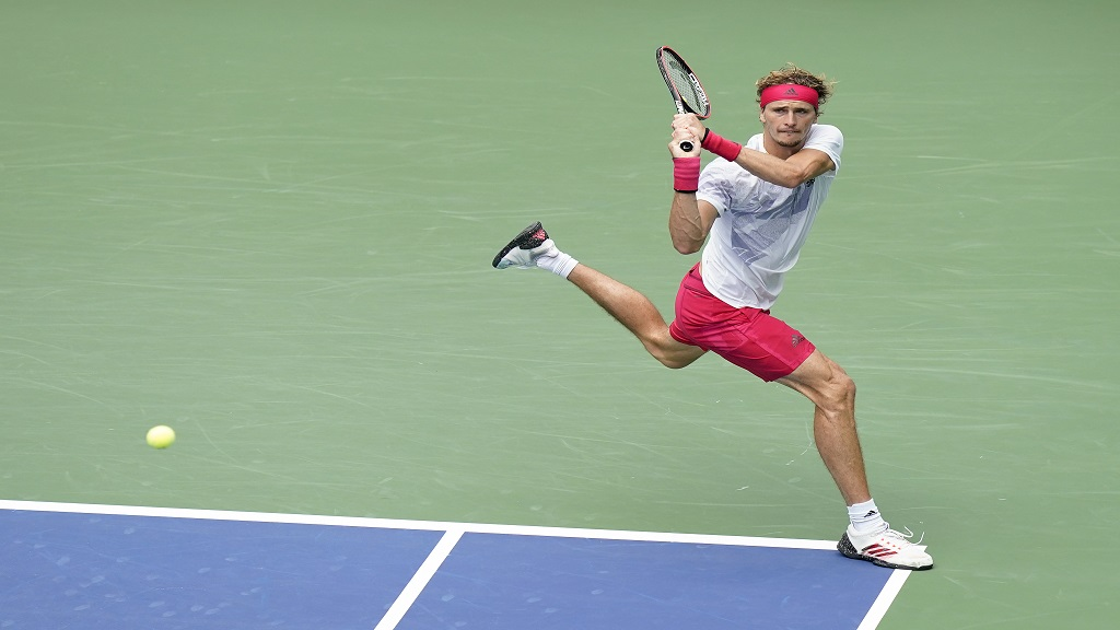 Alexander Zverev, of Germany, returns a shot to Brandon Nakashima, of the United States, during the second round of the US Open tennis championships, Wednesday, Sept. 2, 2020, in New York. (AP Photo/Seth Wenig).