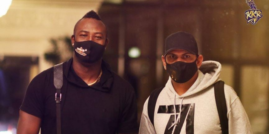 Andre Russell (left) and Sunil Narine arrive in Abu Dhabi before they join the Kolkata Knight Riders for the upcoming IPL tournament. (Photo - KKR Official Twitter)