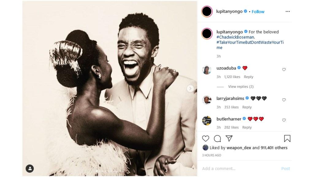 Lupita Nyong'o shares a beautiful image of herself and the late actor Chadwick Boseman