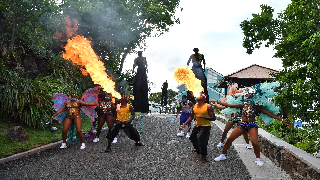 A carnival atmosphere as Sandals Regency reopens