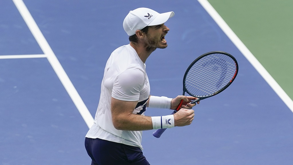 Andy Murray, of Great Britain, reacts after winning the third set against Yoshihito Nishioka, of Japan, during the first round of the US Open tennis championships, Tuesday, Sept. 1, 2020, in New York. (AP Photo/Seth Wenig).