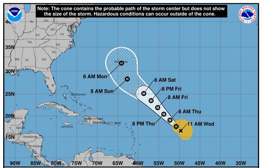 Hurricane Teddy path from National Hurricane Center
