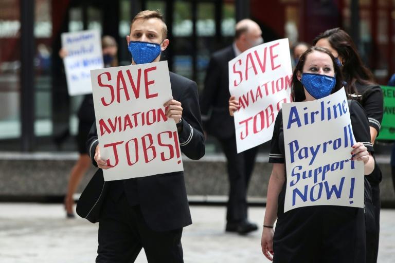 Des salariés de l'aéronautique manifestent à Chicago le 9 septembre 2020 afp.com - KAMIL KRZACZYNSKI