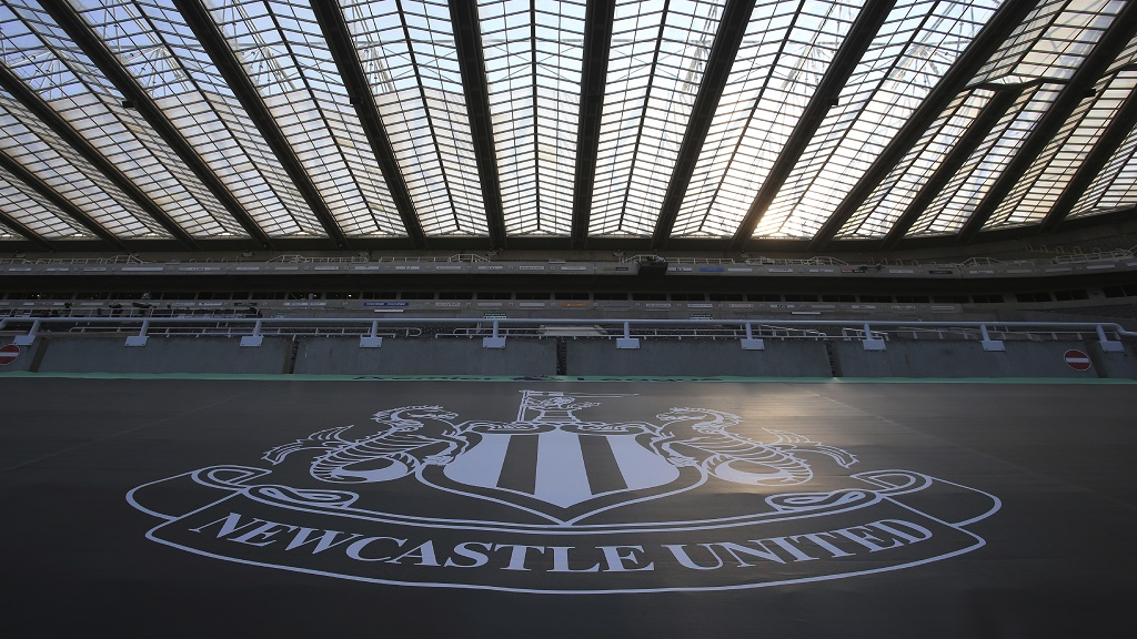 In this Wednesday, June 24, 2020 file photo, empty seats during the English Premier League football match between Newcastle United and Aston Villa at St James' Park stadium in NewCastle, England. (Lindsey Parnaby/Pool via AP, File).