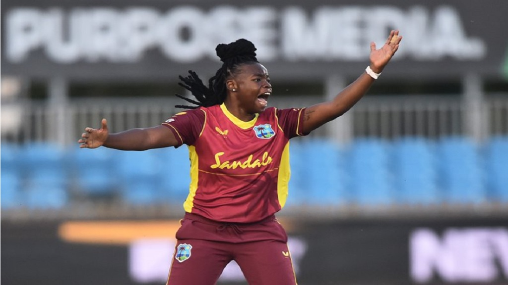 West Indies all-rounder Aaliyah Alleyne appeals during the 4th T20I against England women at Derby on September 29, 2020. (Photo by Cricket West Indies Media).