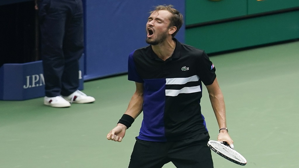 Daniil Medvedev, of Russia, reacts after defeating Andrey Rublev, of Russia, during the quarterfinals of the US Open tennis championships, Wednesday, Sept. 9, 2020, in New York. (AP Photo/Seth Wenig).