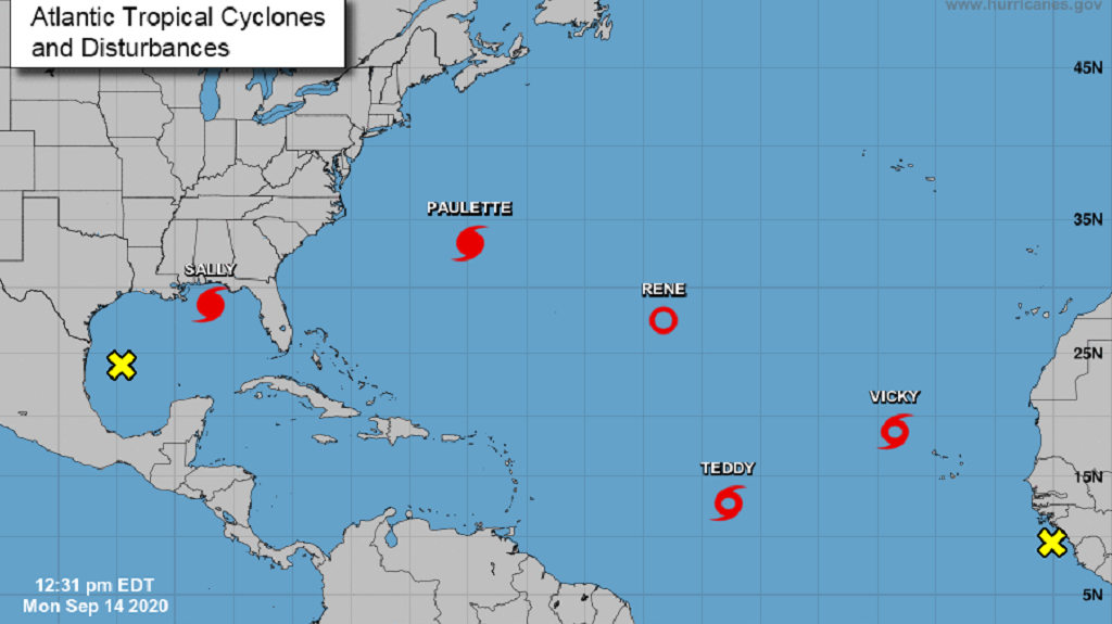 Photo: Seven systems including two hurricanes and two tropical storms are being monitored by weather agencies as of September 14, 2020. Photo courtesy the US National Hurricane Center.