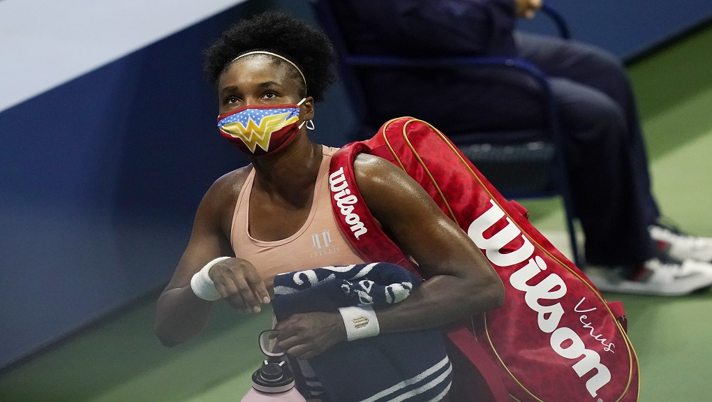 Venus Williams, of the United States, leaves after her match with Karolina Muchova, of the Czech Republic, at the U.S. Open tennis championships, Tuesday, Sept. 1, 2020, in New York. Muchova won the match. (AP Photo/Frank Franklin II).