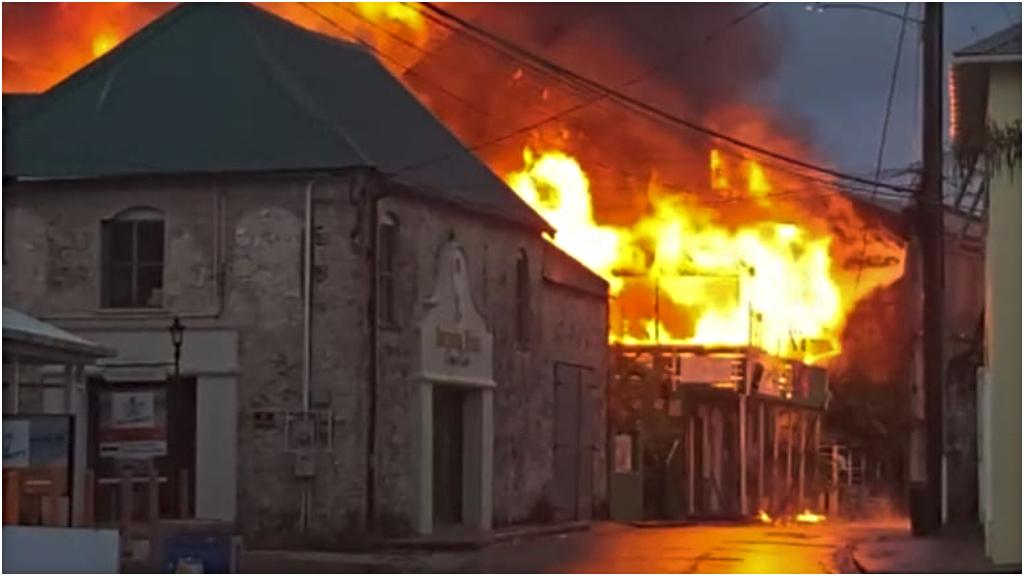 Juma's Restaurant engulfed in flames on September 3, 2020.