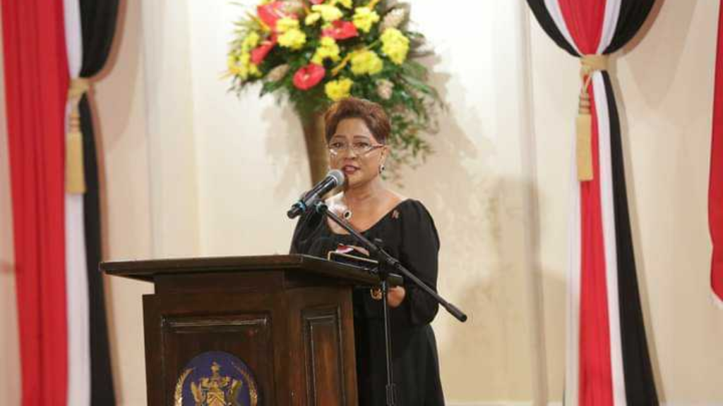 Pictured: Opposition leader Kamla Persad-Bissessar speaks before receiving her instruments of appointment following a ceremony at President's House, St Ann's on August 25, 2020. Photo via Facebook, The Office of the President of Trinidad and Tobago.