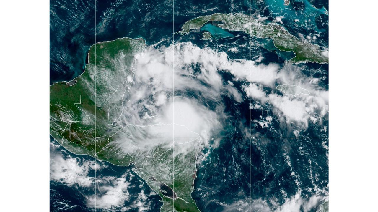 This satellite image released by the National Oceanic and Atmospheric Administration (NOAA) shows Tropical Storm Nana approaching Belize, Wednesday, Sept. 2, 2020. The storm is expected to strengthen throughout the day and make landfall in Belize as a hurricane late Wednesday or early Thursday. (NOAA via AP)