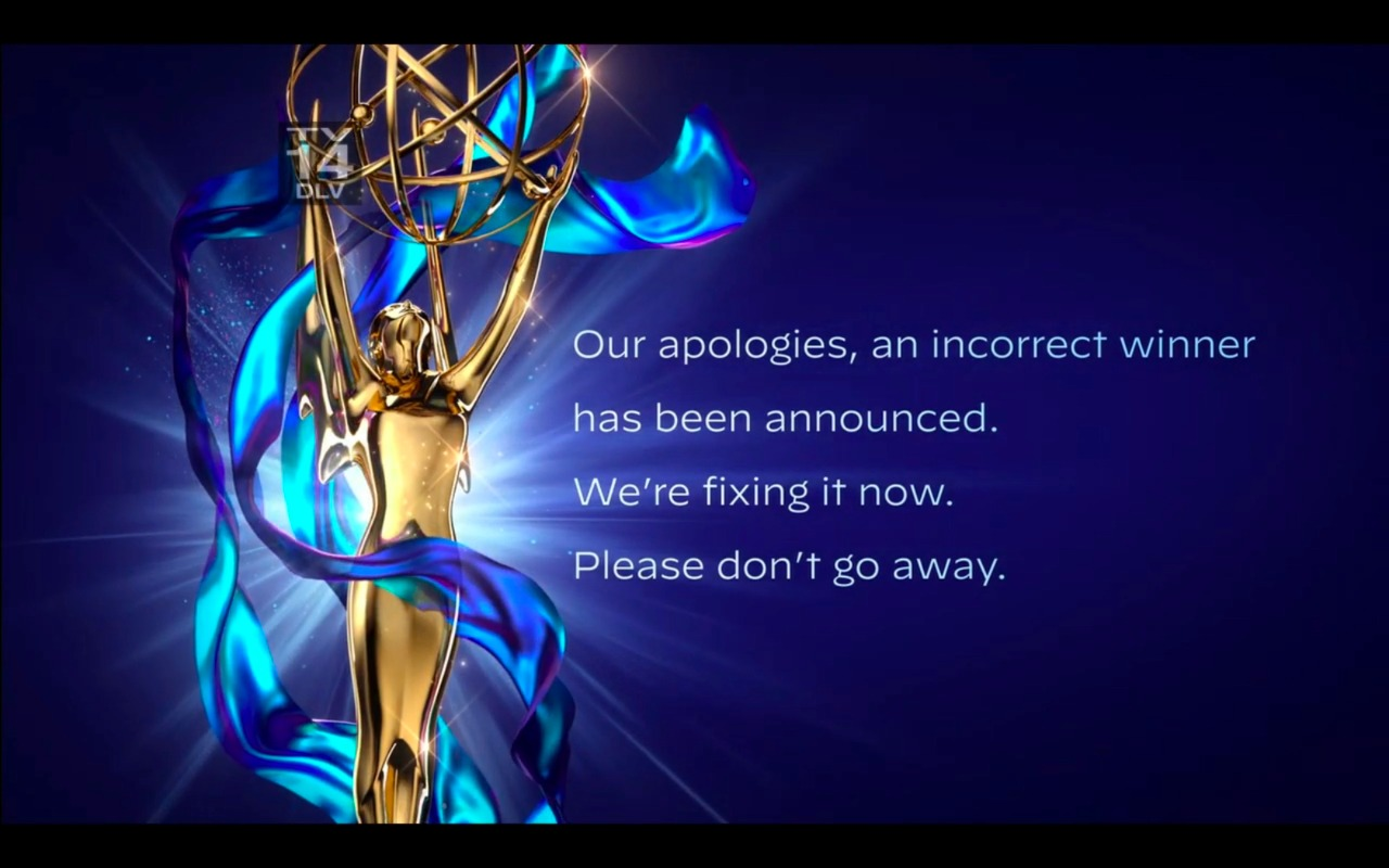 In this video grab issued Saturday, September 19, 2020 by The Television Academy, an apology is issued after the winner of the award for outstanding guest actor in a drama series was incorrectly announced during the 2020 Creative Arts Emmy Awards. (The Television Academy via AP)
