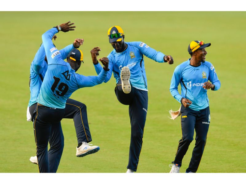 The St Lucia Zouks skipper Darren Sammy (center) celebrates a wicket during their 11-run win over the Jamaica Tallawahs in Match 30 of the 2020 Hero Caribbean Premier League on 6th September 2020 at the Brian Lara Cricket Academy, Tarouba. (Photo by Randy Brooks - CPLT20/Getty Images)