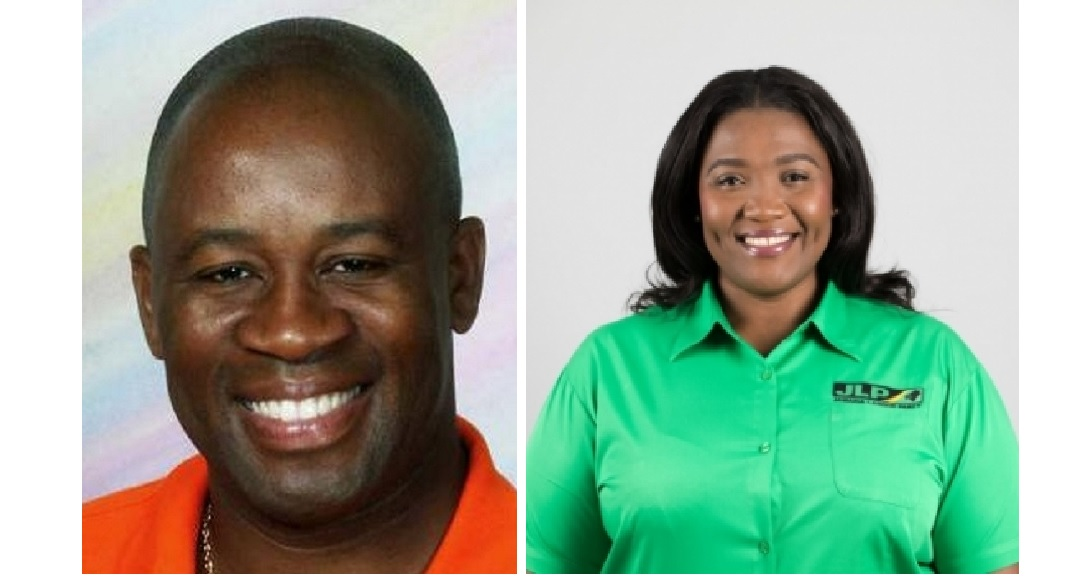 The PNP's Oswest Senior-Smith and his opponent, the JLP's Kerensia Morrison.