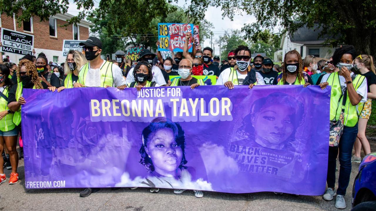 Protesters participate in the Good Trouble Tuesday march for Breonna Taylor, on Tuesday, Aug. 25, 2020, in Louisville, Ky.(Amy Harris/Invision/AP File)