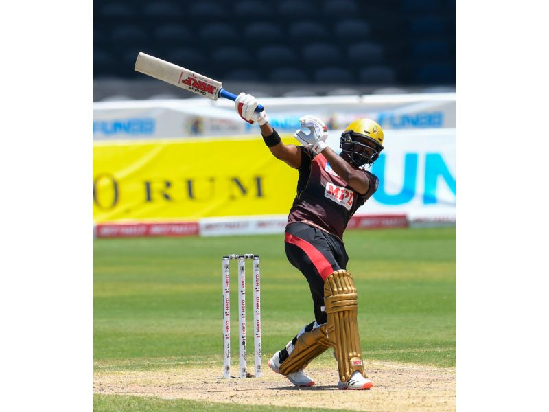 Darren Bravo hits a six over midwicket during his innings of 50 against the St Lucia Zouks on Saturday 5th September 2020 at the Brian Lara Cricket Academy in Match 27 of the Hero Caribbean Premier League. (Photo by Randy Brooks CPLT20/Getty Images)