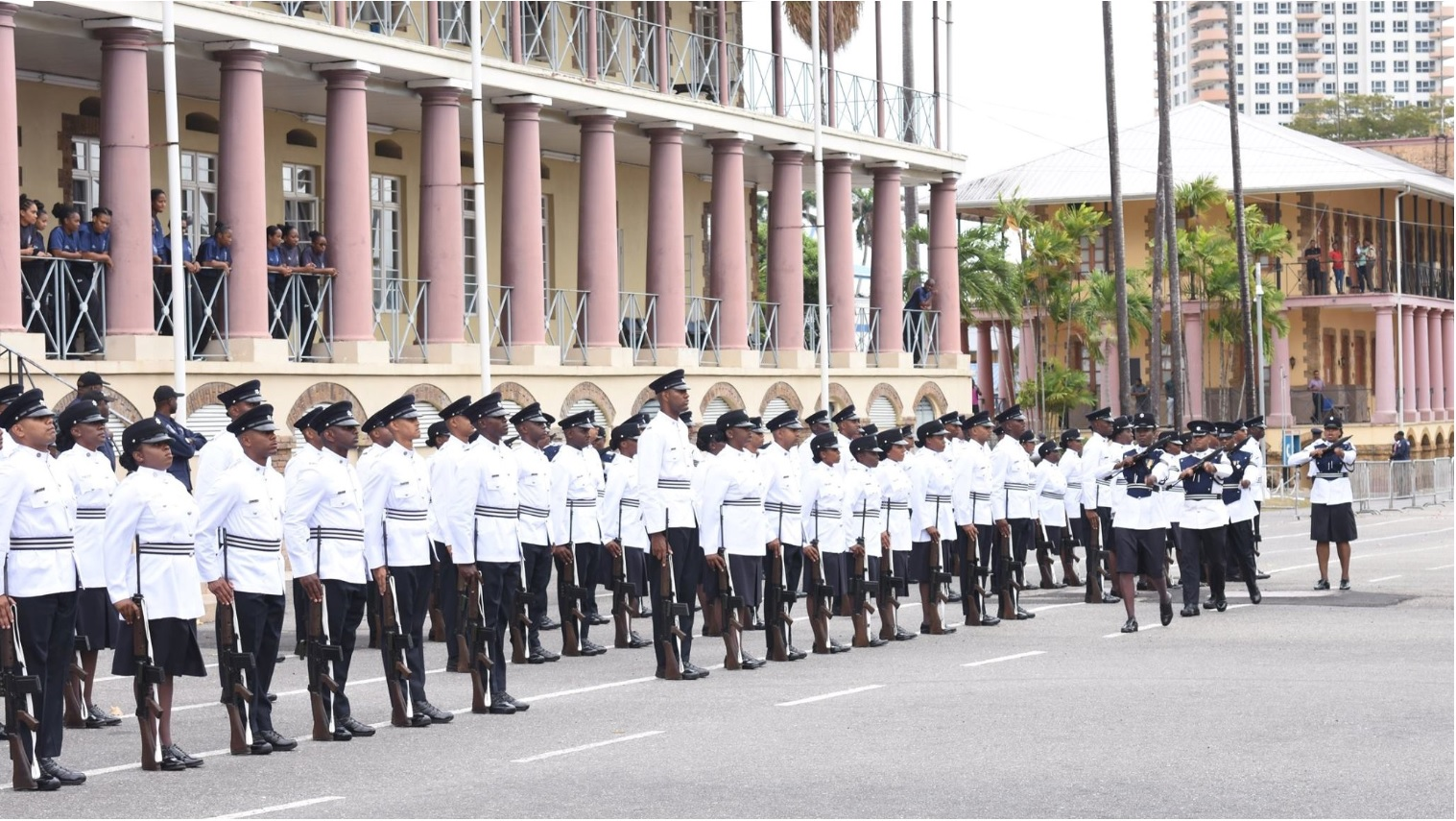 File photo: A passing out parade of TTPS recruits in 2018. (via TTPS Facebook)