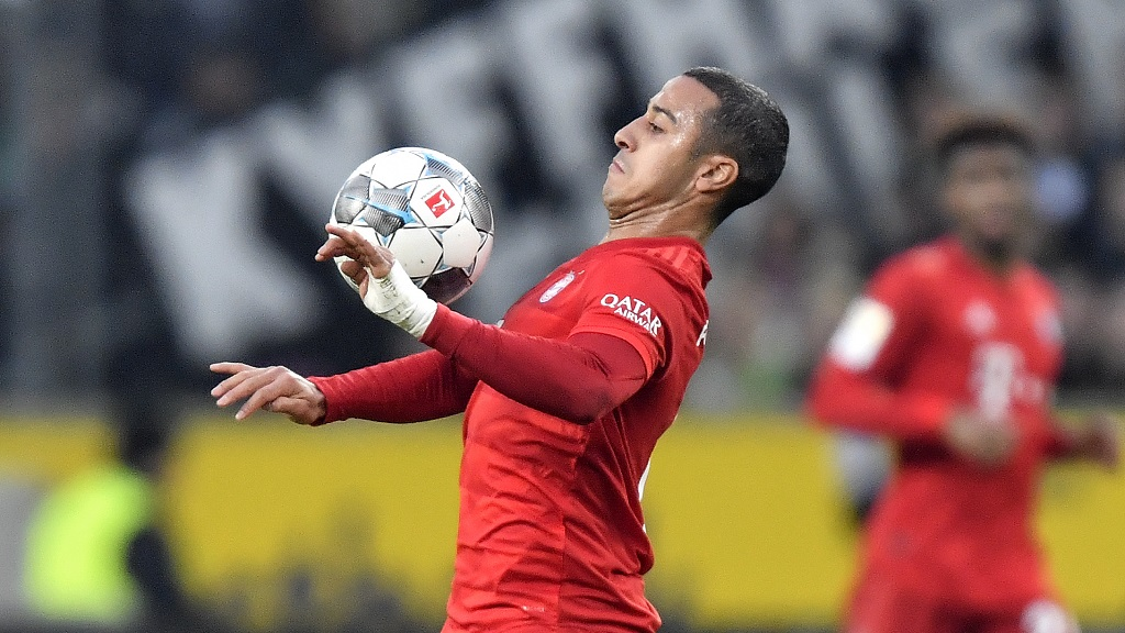 In this Saturday, Dec. 7, 2019 file photo Bayern's Thiago plays during the German Bundesliga soccer match against Borussia Moenchengladbach at the Borussia Park in Moenchengladbach, Germany. (AP Photo/Martin Meissner, file)