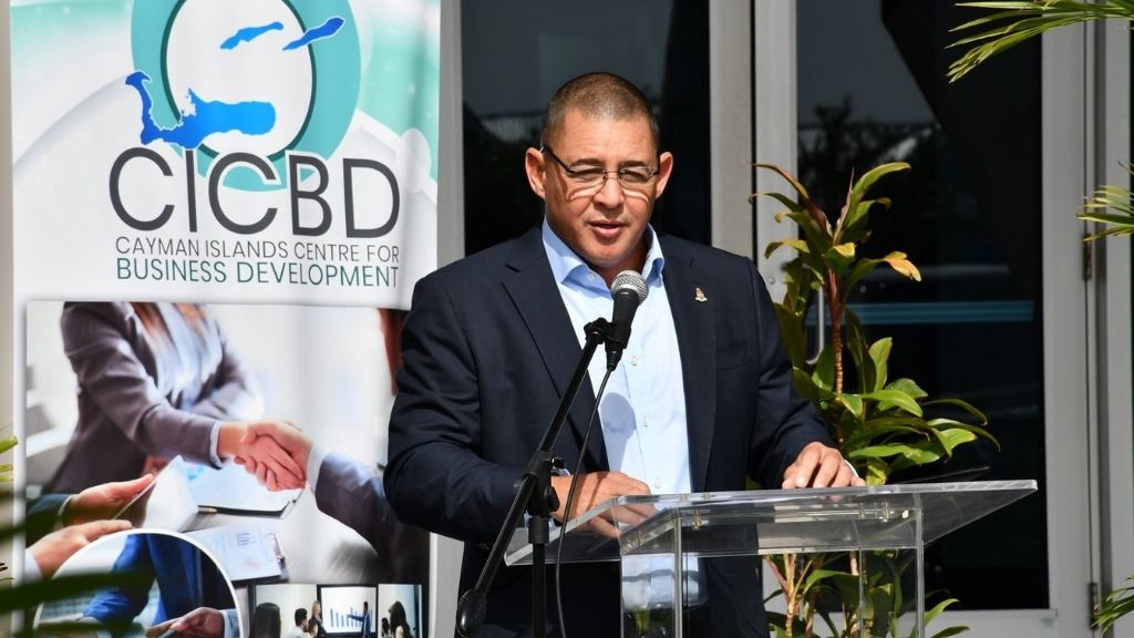 Minister Joseph Hew at the opening of the Cayman Islands Centre for Business Development