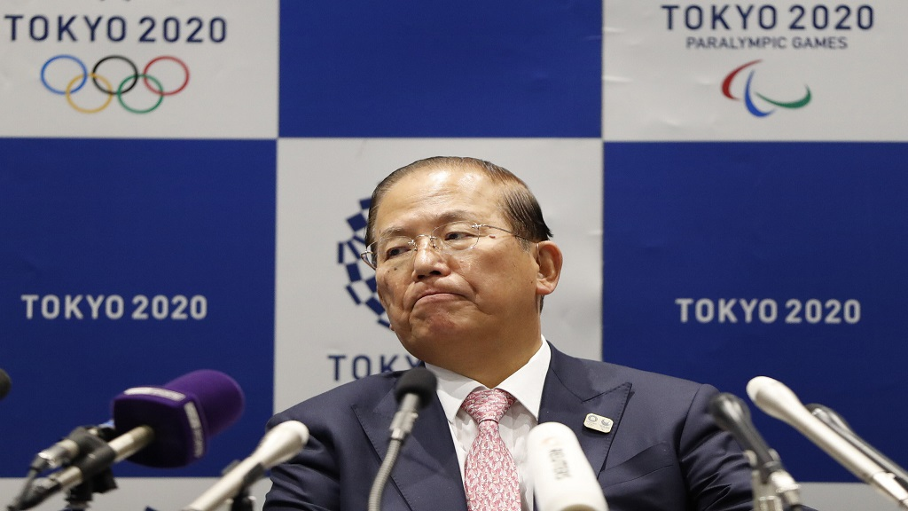 Tokyo 2020 Organizing Committee CEO Toshiro Muto attends a news conference after a Tokyo 2020 Executive Board Meeting in Tokyo Monday, March 30, 2020.