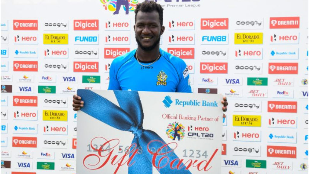 St Lucia Zouks skipper Darren Sammy accepted an award on behalf of his team after the Trinbago Knight Riders-Zouks final on Thursday 10th September 2020 at the Brian Lara Cricket Academy, Tarouba. (Photo by Randy Brooks -  CPLT20/Getty Images)