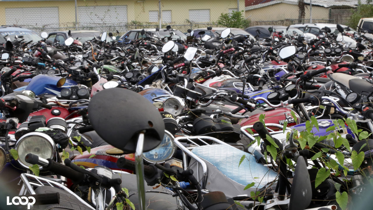 Hundreds of motorcycles at a pound in Westmoreland. (PHOTOS: Ramon Lindsay)