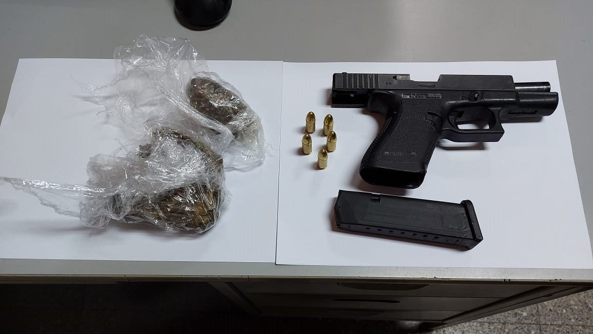 This firearm and drugs were allegedly found by police during an interaction with a man from Jacob Hill, Arima.