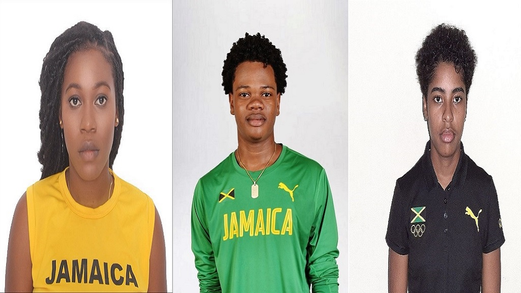 (From left) Kareme Hudson, Akeem Brown and Tahlia Richardson, three of the four recipients of the Jamaica Olympic Association scholarships.