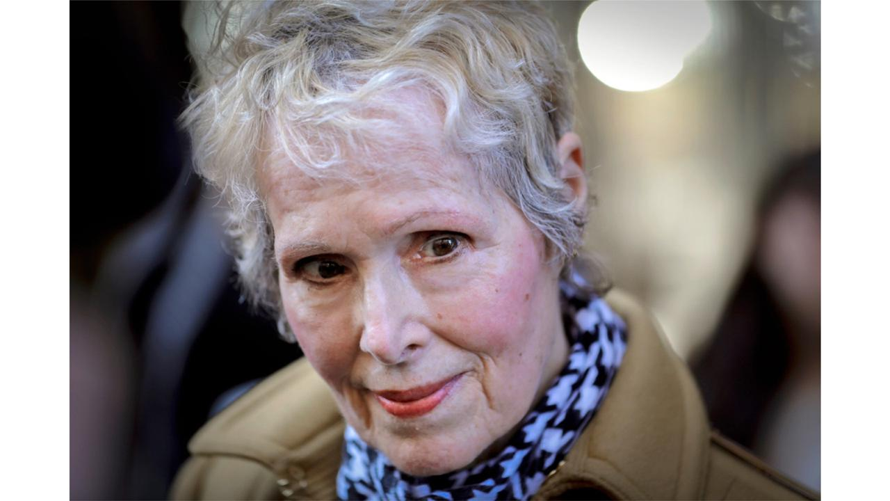 In this March 4, 2020, photo, E. Jean Carroll talks to reporters outside a courthouse in New York. (AP Photo/Seth Wenig, File)