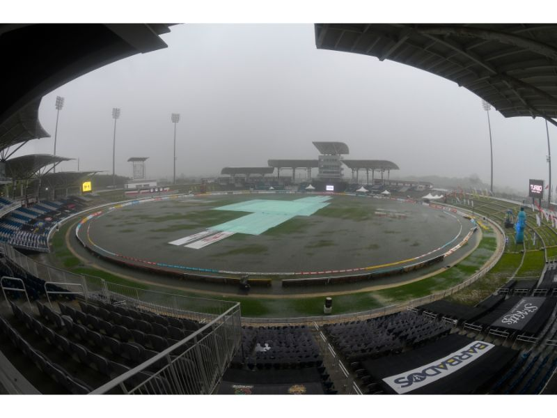There was a no-result in Match 25 of the 2020 Hero Caribbean Premier League at the Briaan Lara Cricket Academy due to heavy rains. (Photo courtesy Randy Brooks - CPLT20/Getty Images)