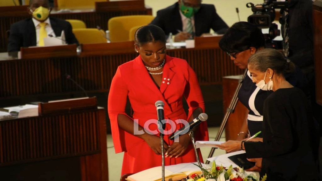 Gabriella Morris being sworn in as Opposition Senator at the Jamaica Conference Centre on Tuesday.
