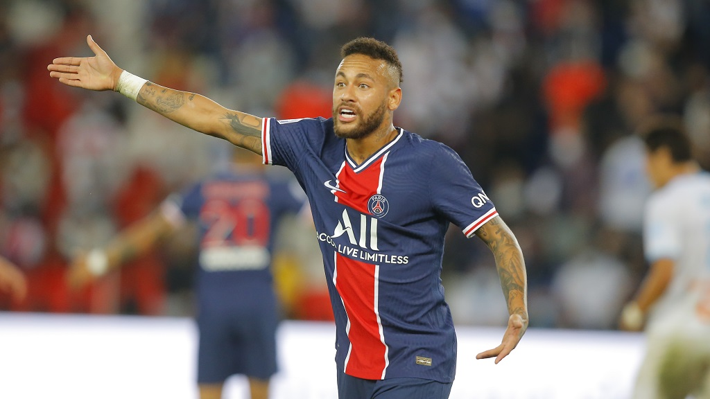PSG's Neymar reacts during the French League One football match against Marseille at the Parc des Princes in Paris, France, Sunday, Sept.13, 2020. (AP Photo/Michel Euler).