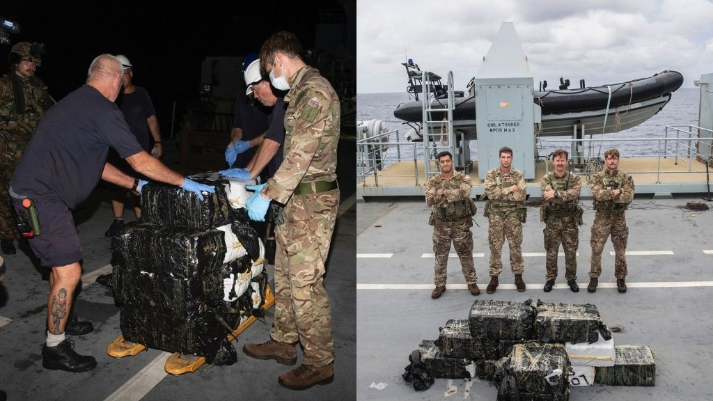 Members of the Royal Navy and the US Coast Guard with their massive drug haul in the Caribbean Sea. (Photos: Courtesy The Royal Navy.)