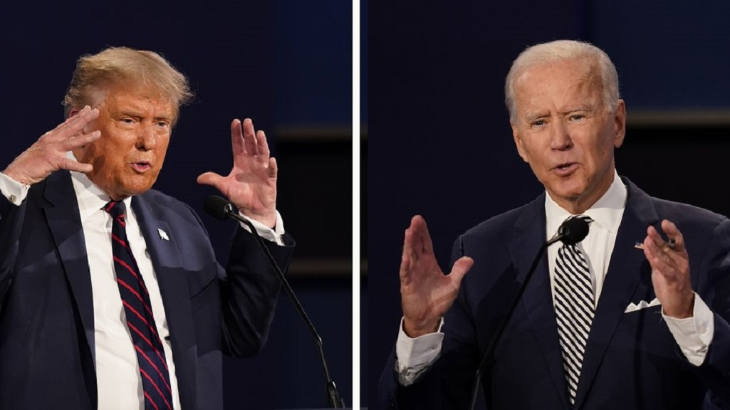 (left) US President Donald Trump and (right) Joe Biden
