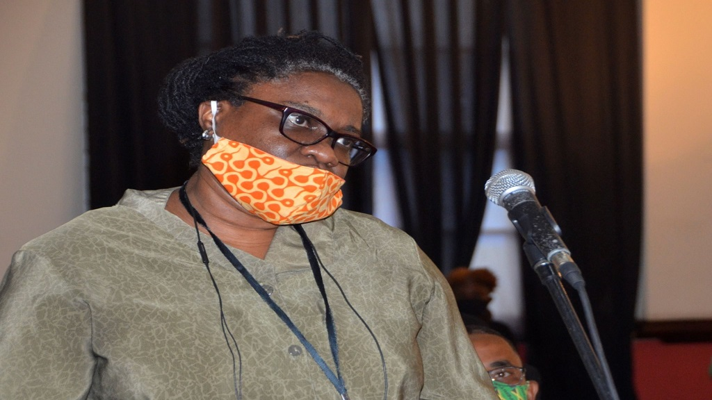 Medical Officer of Health for St. James, Dr. Marcia Johnson-Campbell, addresses the monthly meeting of the St. James Municipal Corporation, held at the Montego Bay Cultural Centre, Sam Sharpe Square, on Thursday, October 8.