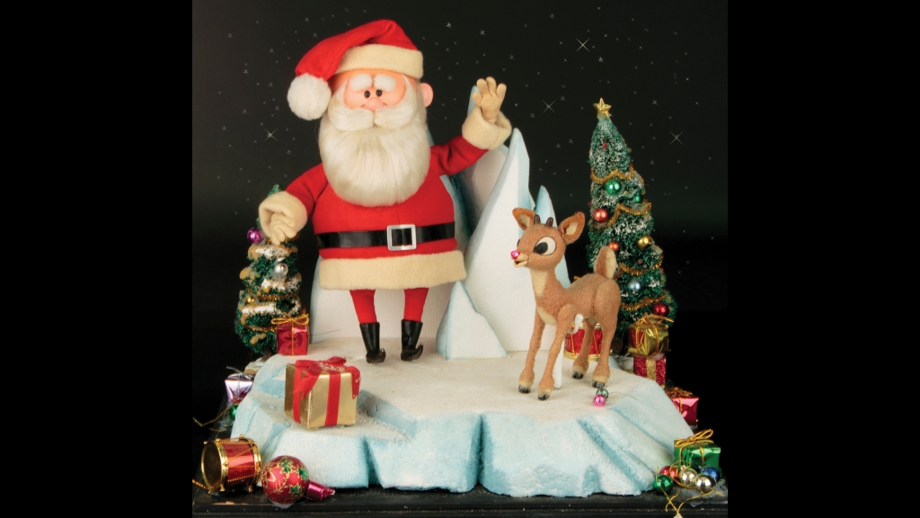 """This image released by Profiles in History shows a Santa Clause and Rudolph reindeer puppet used in the filming of the 1964 Christmas special """"Rudolph the Red-Nosed Reindeer."""" Photo: Profiles in History via AP"""