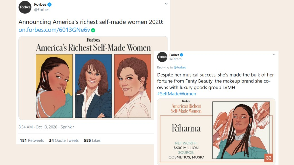 Forbes tweets list of America's Richest Self Made Women and Rihanna makes the list at #33