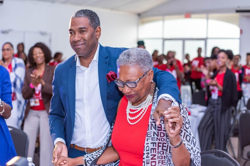 Current MDS General Manager Kurt Boothe and his mother, Myrtis Boothe. Mrs Boothe is step down as managing director as part of the company's succession plan. (Photo via Medical Disposables, Facebook)