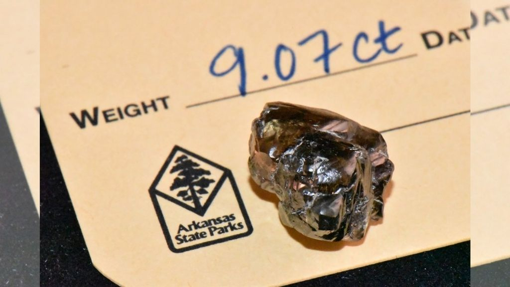 A 9.07 carat diamond found by Kevin Kinard at Crater of Diamonds State Park recently in Murfreesboro, Arkansas. Kinard, a resident of Maumelle, found the second-largest diamond in the 48-year history of Crater of Diamonds State Park. (Waymon Cox/Arkansas Department of Parks, Heritage and Tourism via AP)