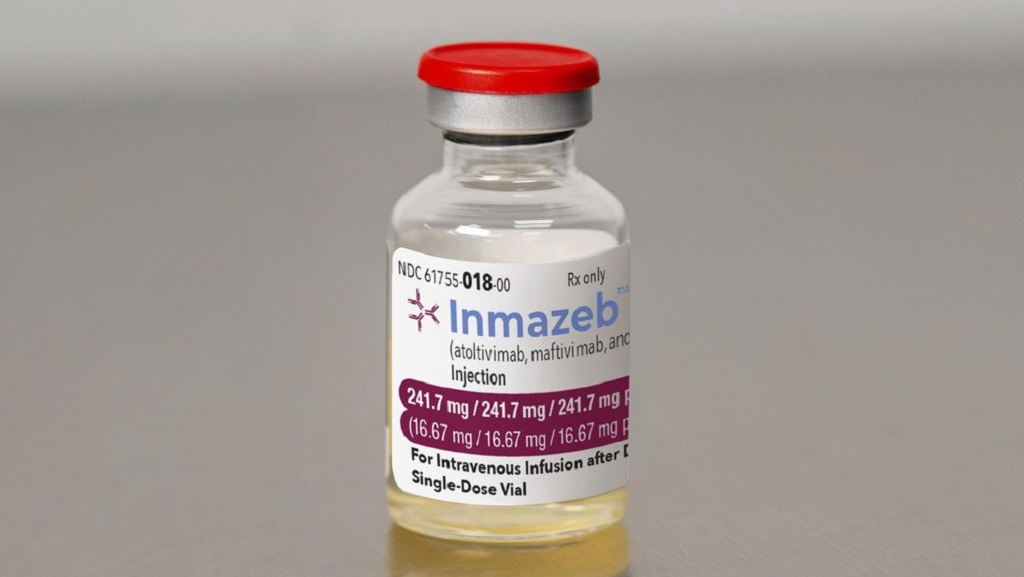 This image provided by Regeneron on Wednesday, Oct. 14, 2020, shows a vial of the company's Inmazeb medication. On Wednesday, the U.S. Food and Drug Administration said it has approved the drug for treating Ebola in both adults and children. (Regeneron via AP)