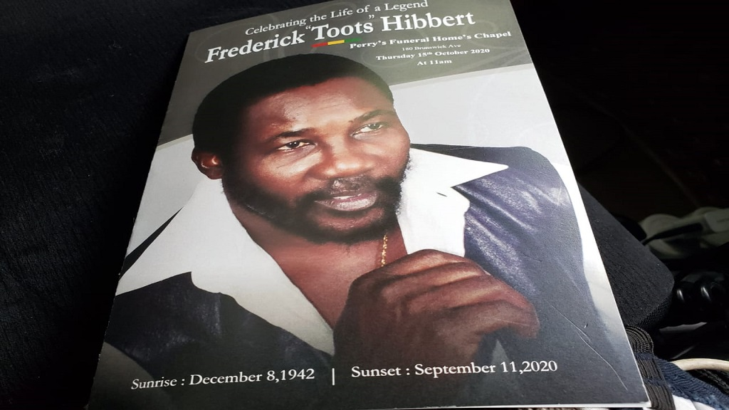 The cover of the funeral programme for the October 15 thanksgiving service to celebrate the life of late reggae icon Frederick 'Toots' Hibbert.