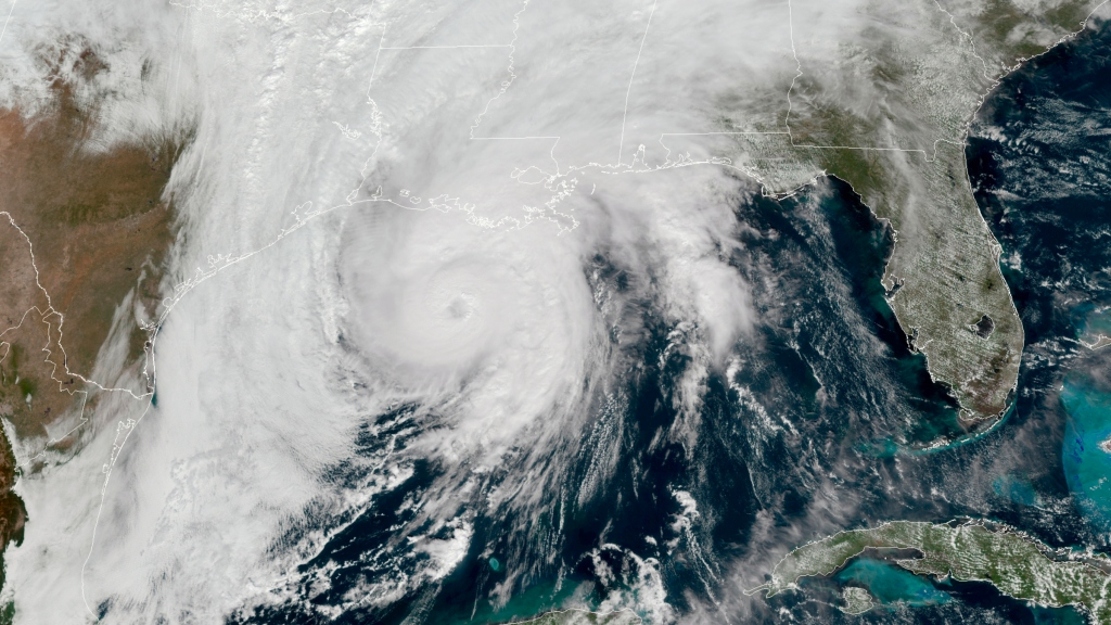 This GOES-16 GeoColor satellite image taken, Wednesday, Oct. 28, 2020, at 1 p.m. EDT, and provided by NOAA, shows Hurricane Zeta in the Gulf of Mexico nearing Louisiana. Photo: NOAA via AP