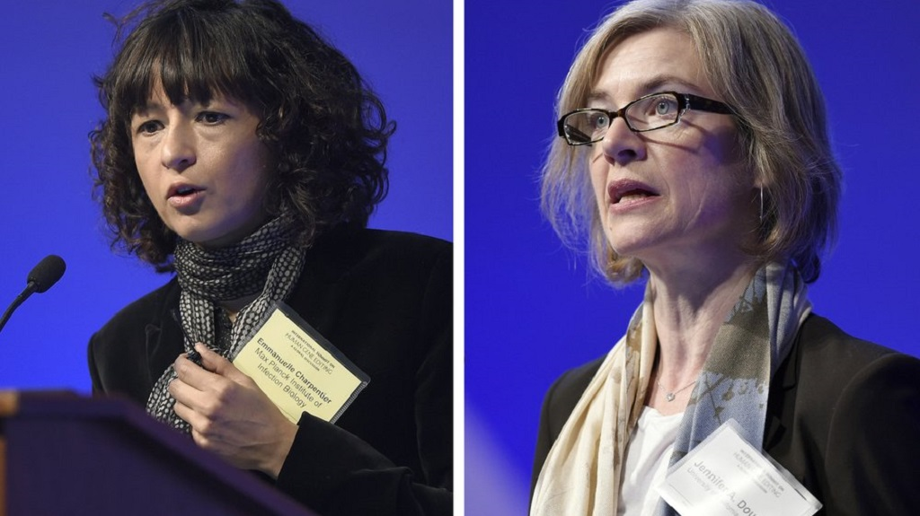 "FILE - This Tuesday, December 1, 2015 file combo image shows Emmanuelle Charpentier, left, and Jennifer Doudna, both speaking at the National Academy of Sciences international summit on the safety and ethics of human gene editing, in Washington. The 2020 Nobel Prize for chemistry has been awarded to Emmanuelle Charpentier and Jennifer Doudna ""for the development of a method for genome editing."" (AP Photo/Susan Walsh, File)"