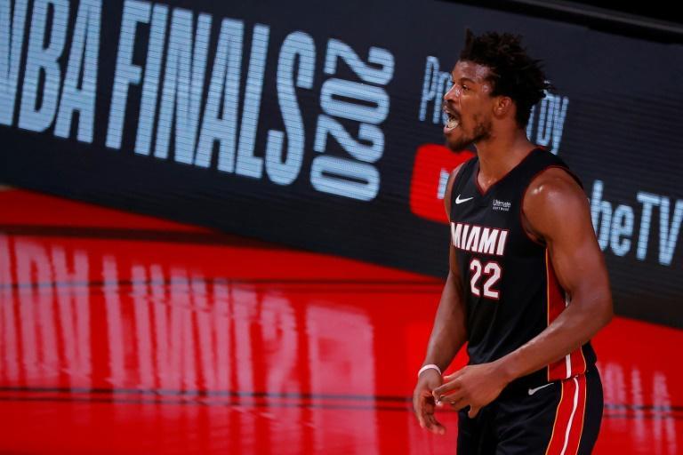 L'ailier du Miami Heat, Jimmy Butler, lors du match N.3 de la finale NBA contre les Los Angeles Lakers, le 4 octobre 2020 à Lake Buena Vista afp.com - Kevin C. Cox